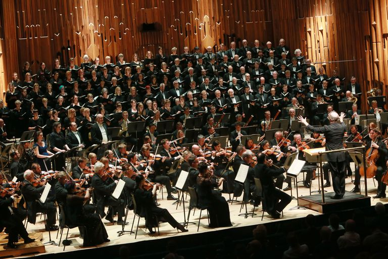A string orchestra with a choir