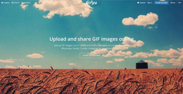 The homepage of Gifyu