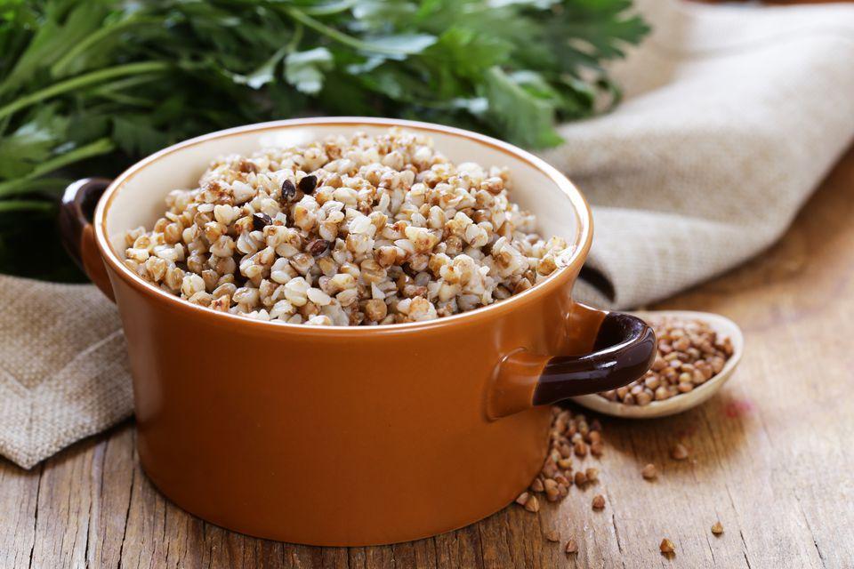 Natural organic buckwheat cereal. Boiled buckwheat porridge