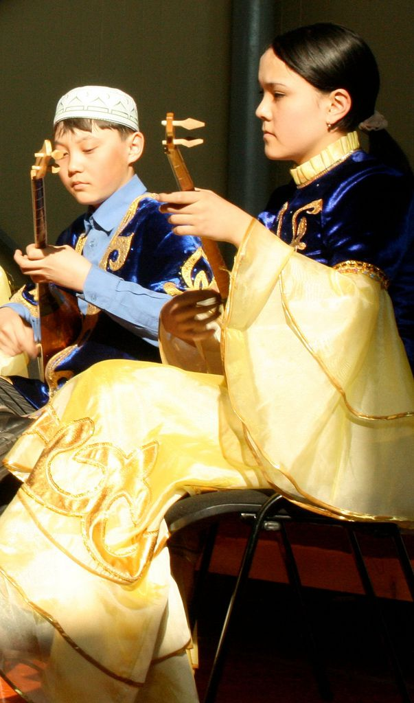 The dombra, a two-string lute, is the national instrument of Kazakhstan