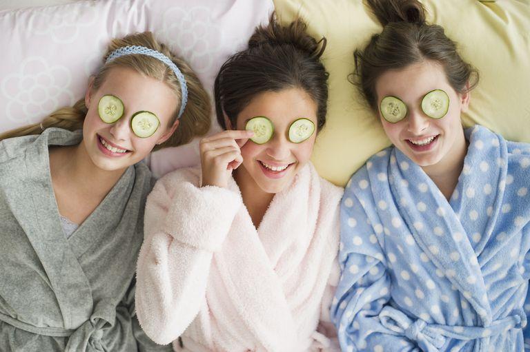 Girls having a facial