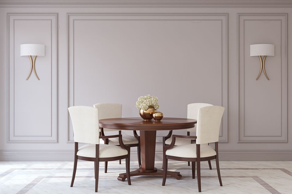 dining room table with bench against wall. Sparse Gray Dining Room 25 Design Ideas