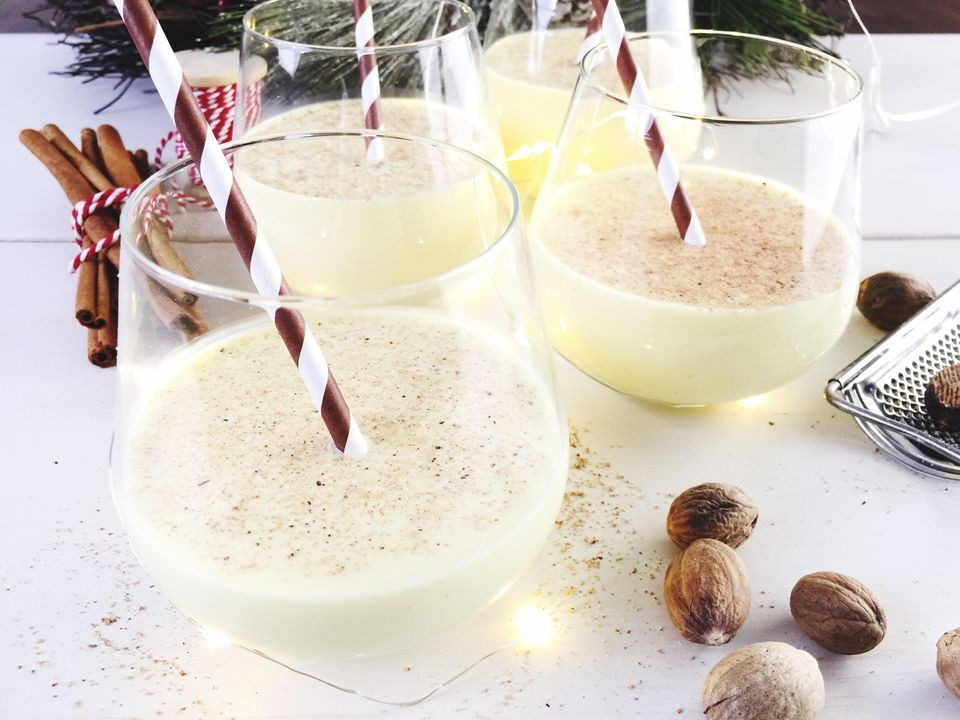 Close-Up Of Eggnog On Table