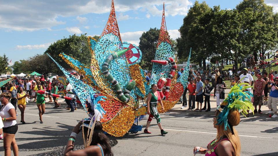 Green and red snakes, Toronto Caribbean Festival (also known as Caribana)