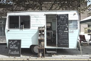 USA, South Carolina, Myrtle Beach, Market Commond District, Coffee trailer in Farmers Market