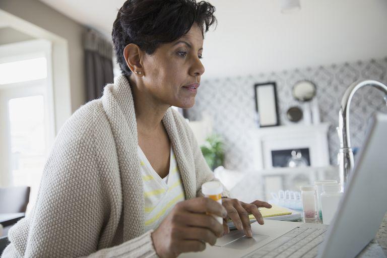 Mature woman using laptop