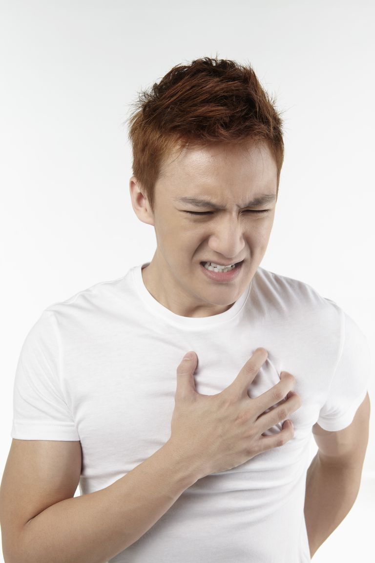 Man having chest pain, Front View, Waist Up