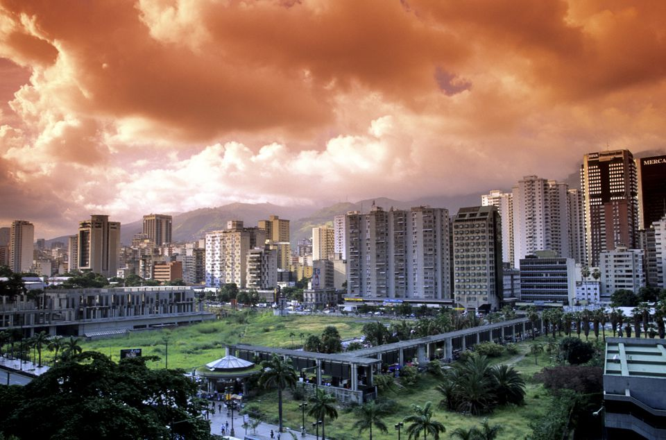Caracas Downtown District and Skyline with dramatic sky, Caracas, Venezuela