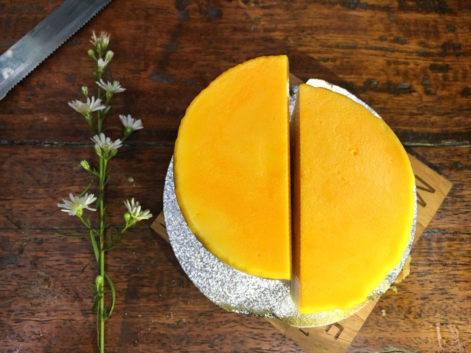 Directly Above Shot Of Mango Cheesecake