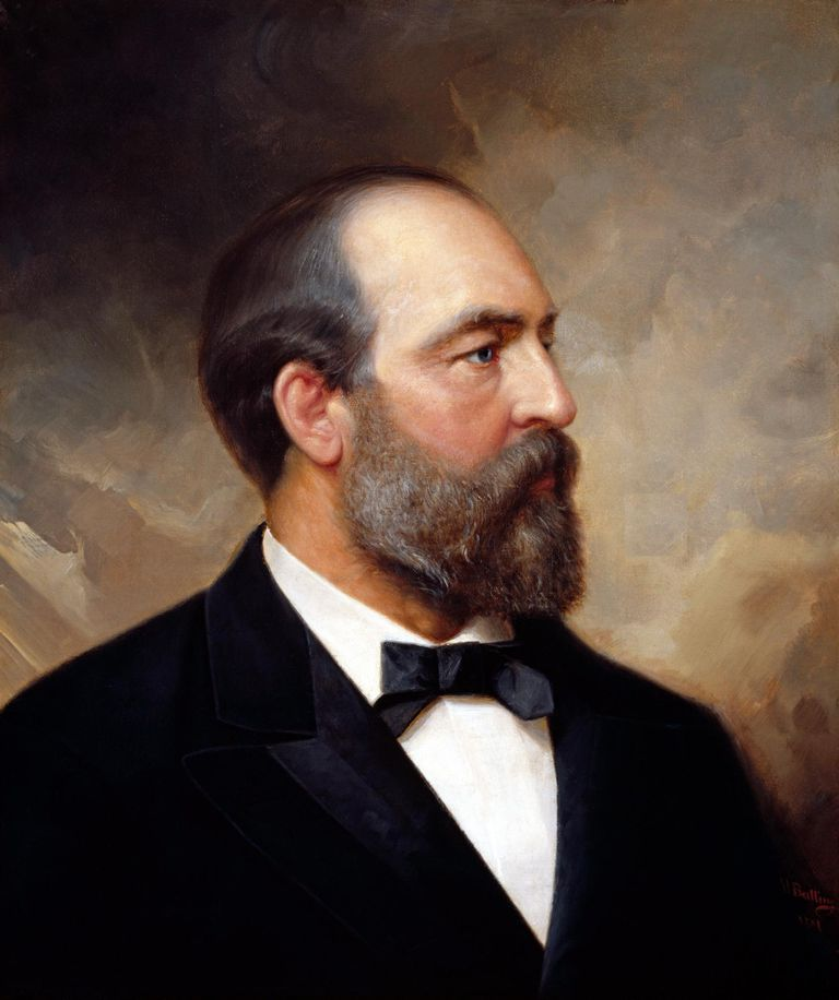 Vintage American history painting of President James Garfield.