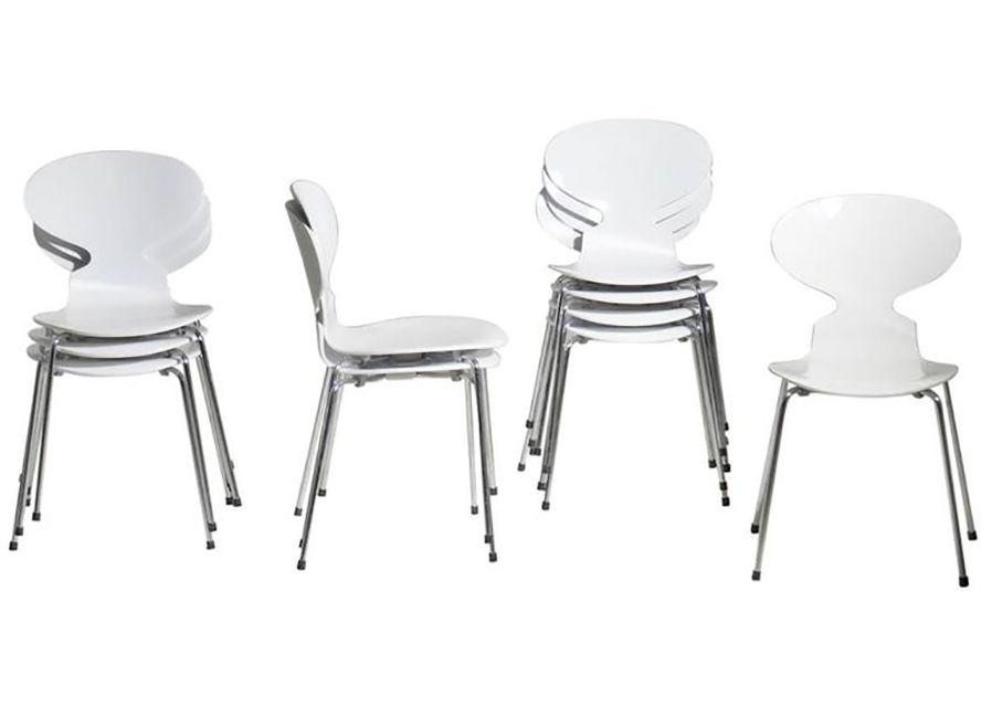 Arne Jacobsen Set of Ten White Ant Chairs