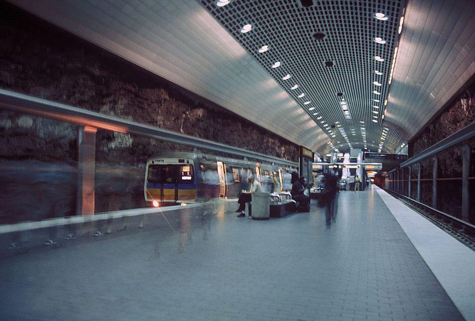 Two men waiting for the subway at the Metropolitan Atlanta Rapid Transit Authority station on January 1, 1993 in Atlanta, GA
