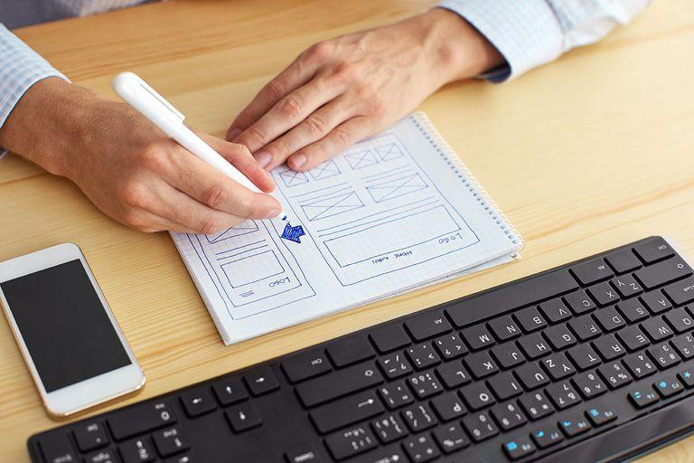 Sketching a website design