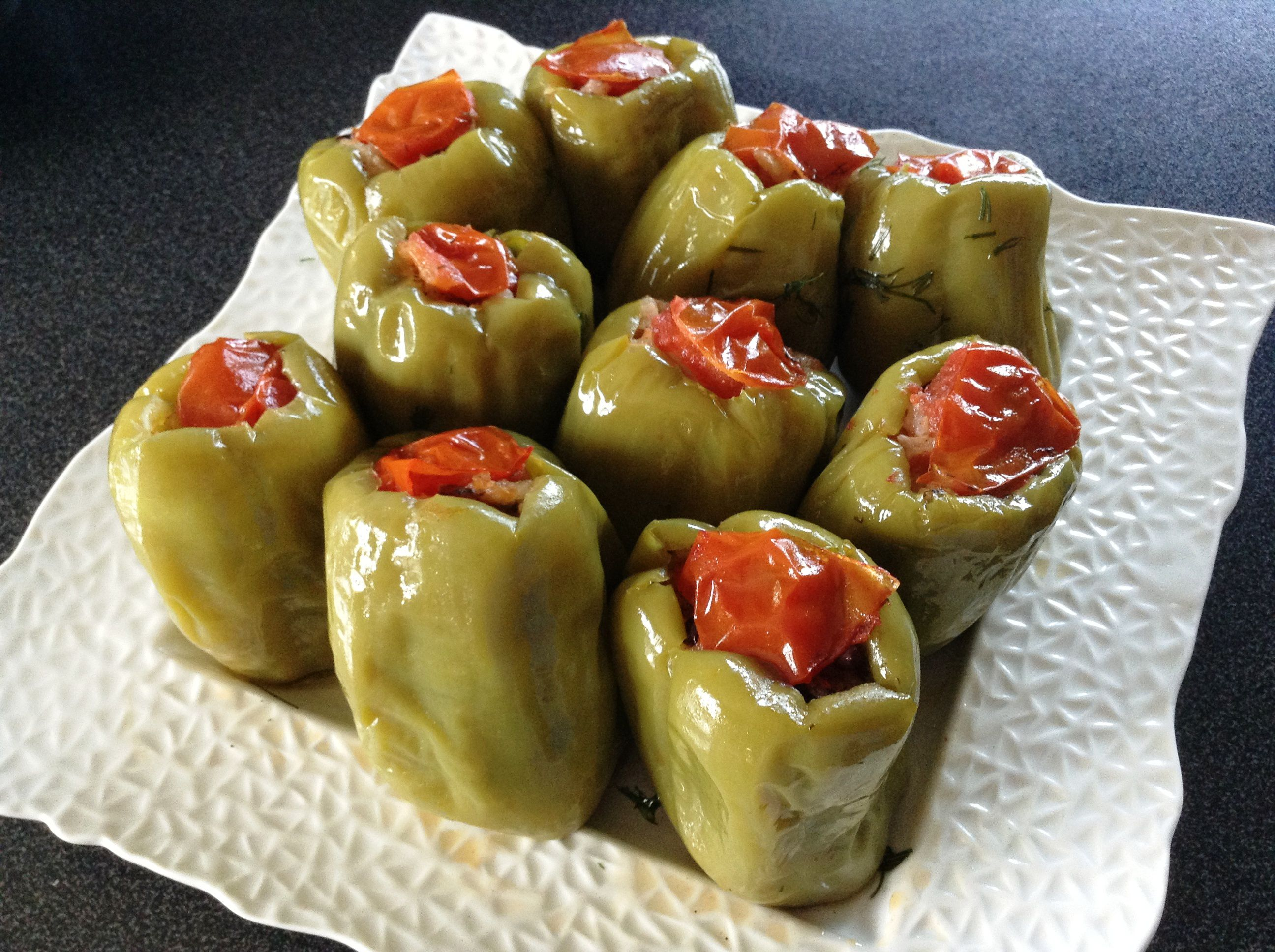 Turkish style Stuffed Peppers Biber Dolmas