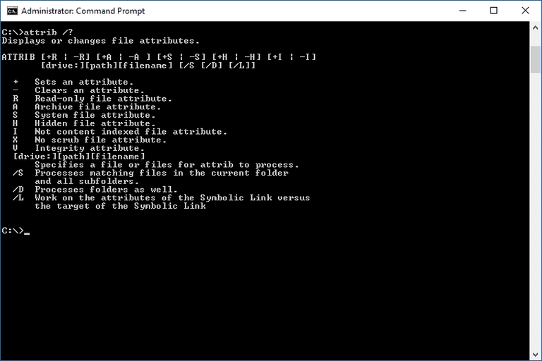 Screenshot of the attrib command and help switch in Windows 10 Command Prompt