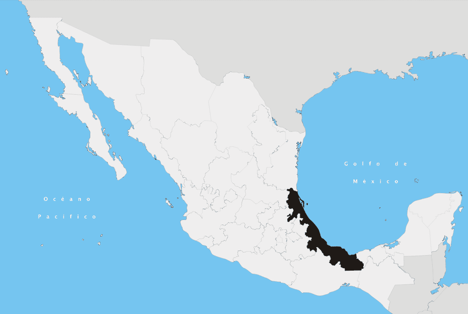 Map of Veracruz state, which lies along the Gulf Coast of Mexico.