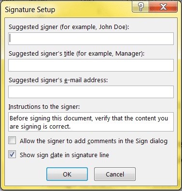 Signatures in Microsoft Word