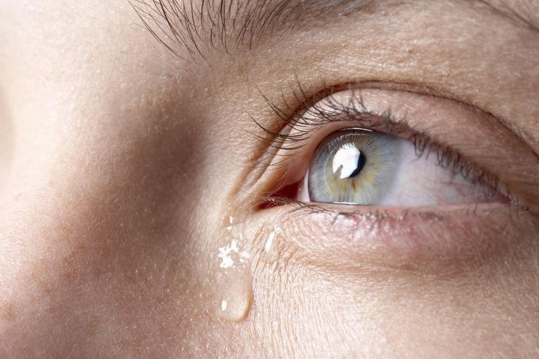 Tear falling from woman's eye, close-up