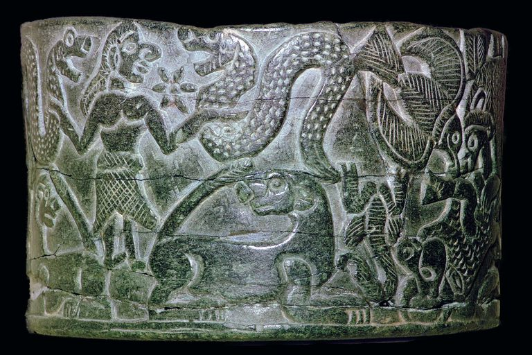 Steatite bowl, probably Inanna, with star and snake