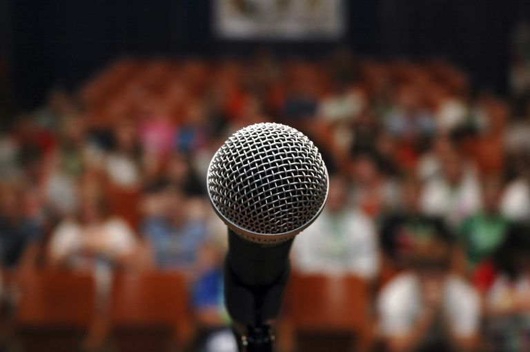 microphone in front of crowd