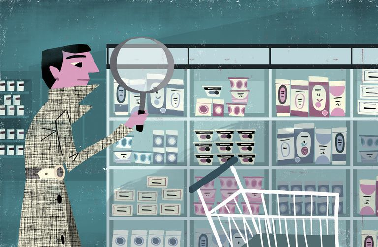 Detective examining products on supermarket shelf with magnifying glass