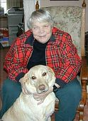 Jean Little, Canadian author of children's books, and her seeing-eye dog, Pippa