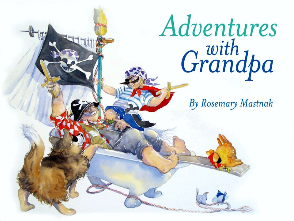grandfather and grandson have imaginative adventures in children's picture book