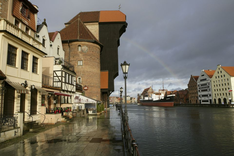 The Old Town of Gdansk, Poland Gdansk, sailing boat on Motlawa in front of Crane Gate, Poland Details Credit: