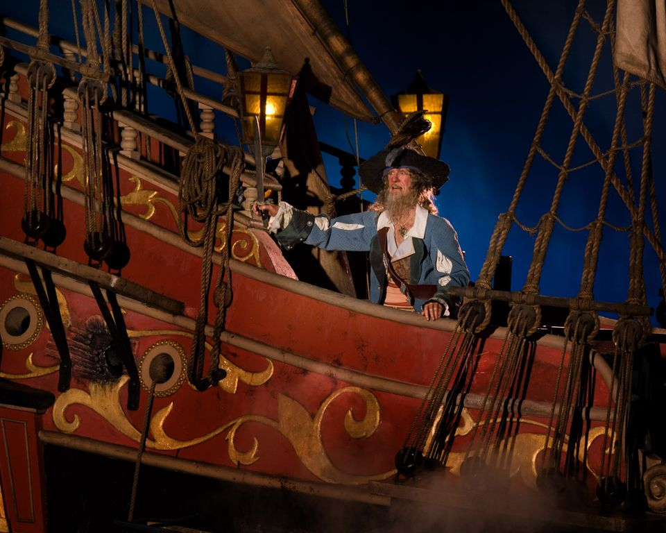 Battle scene in the Pirates of the Caribbean ride.