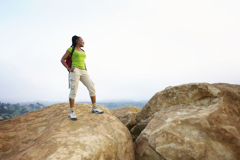 Hiker standing on rocks