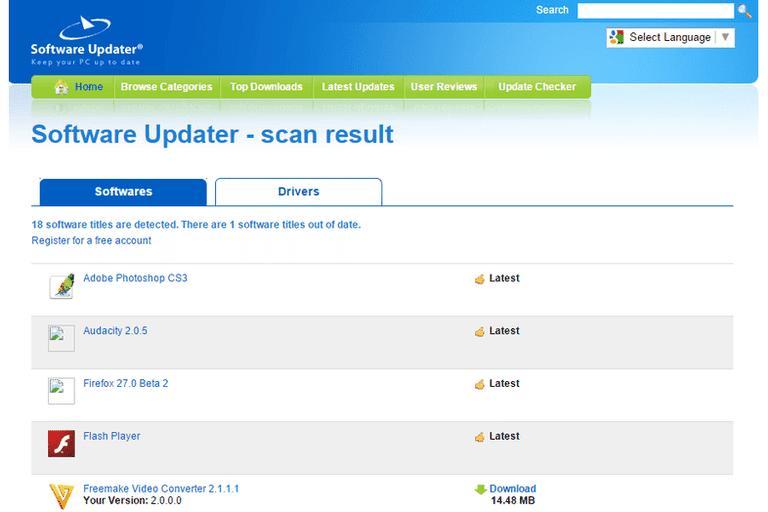 Screenshot of Software Updater