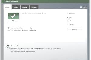 Screenshot of Microsoft Security Essentials v4.8 in Windows 7