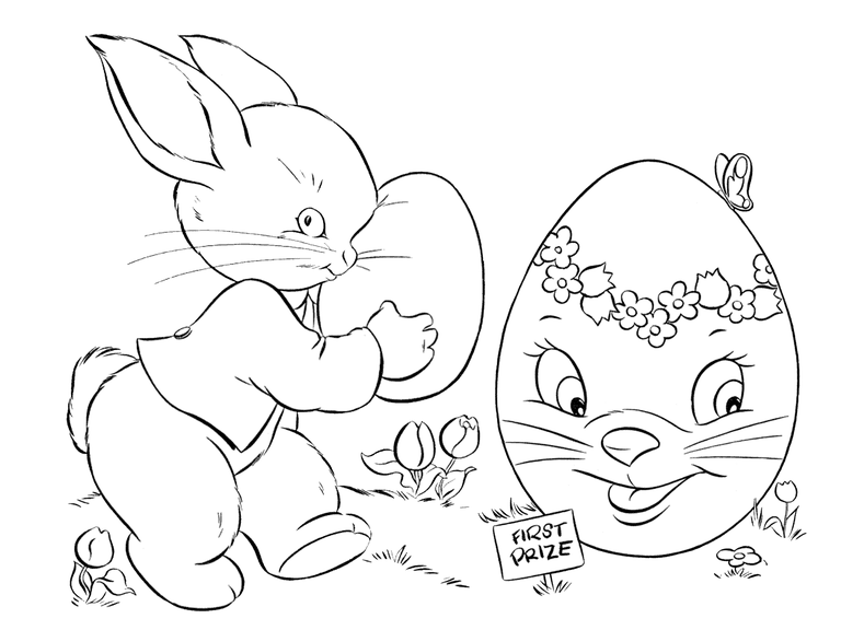 picture of an easter bunny and large egg coloring page - Easter Eggs Coloring Pages