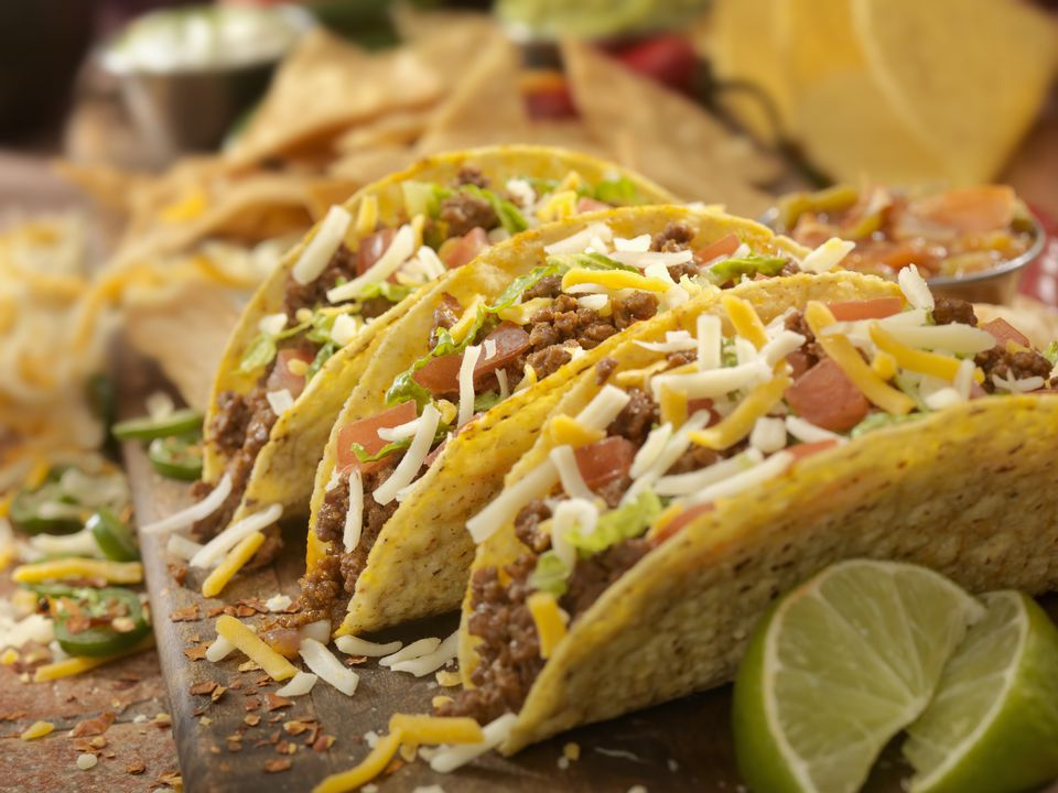 A platter of ground beef tacos
