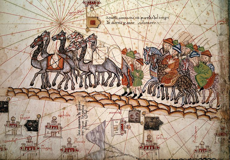 13th Century Catalan Nautical Map Illustrating Marco Polo Crossing the Silk Road