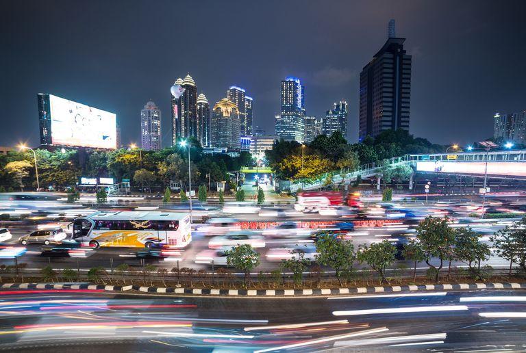 Jakarta night rush in business district