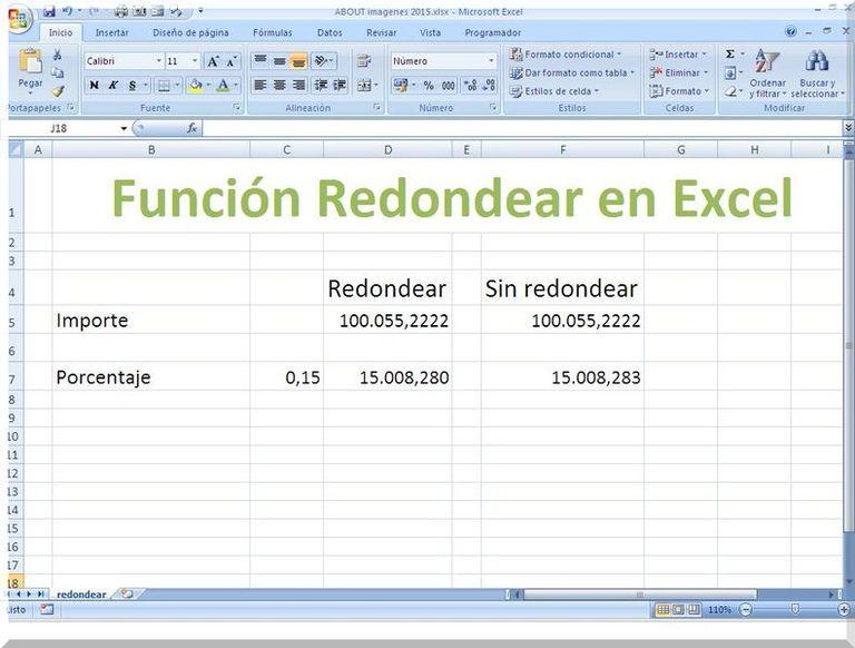 Redondear decimales en Excel