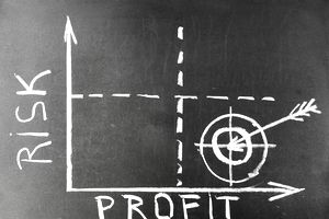 Graph of risk compared to profit - used to evaluate low risk investments.