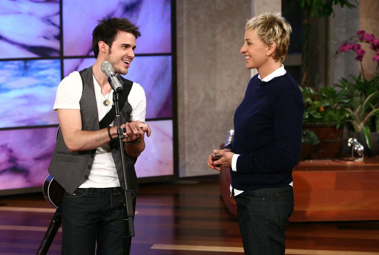 American Idol winner Kris Allen and talk show host Ellen DeGeneres.