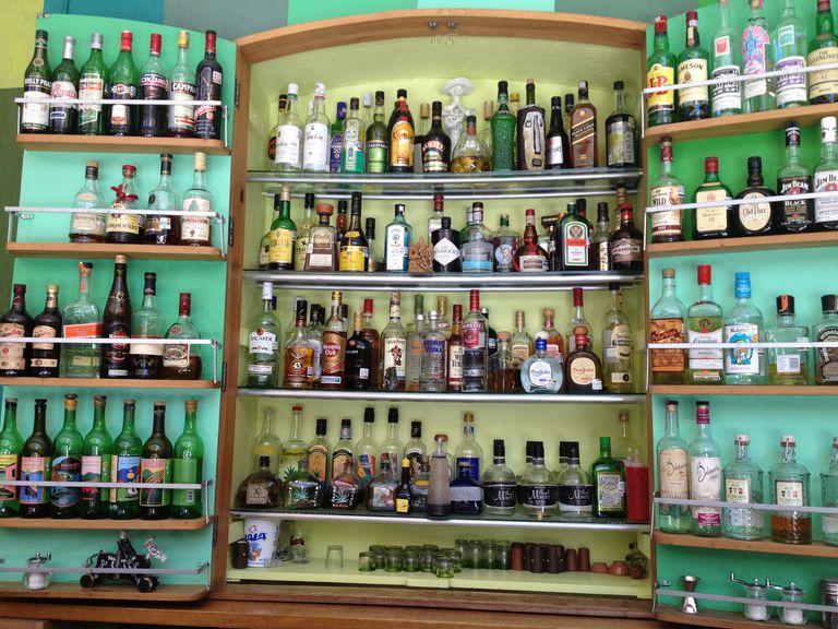 bar full of mezcal bottles