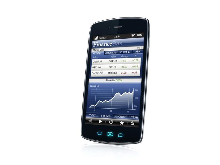smartphone with finance application - right side view