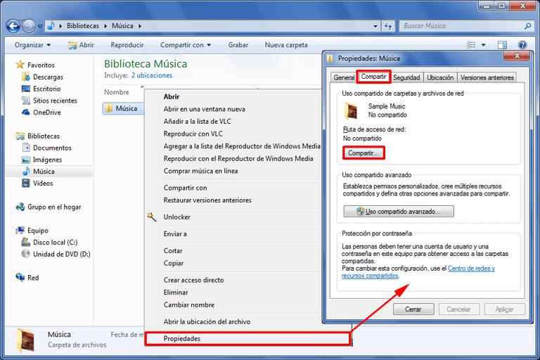 Comparte carpetas y archivos en Windows 7