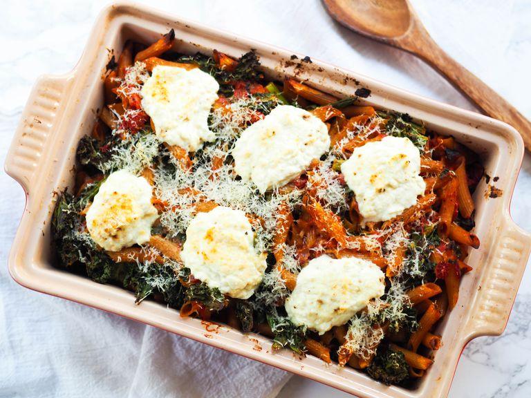 spring baked pasta with lemon ricotta