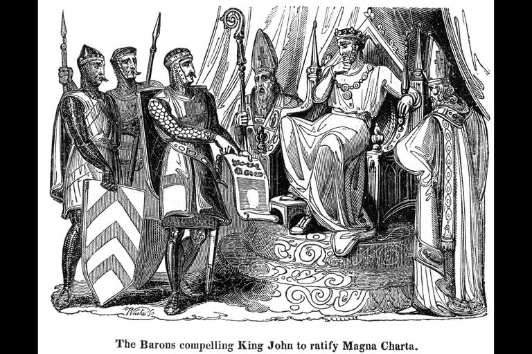 Barons with King John and the Magna Carta