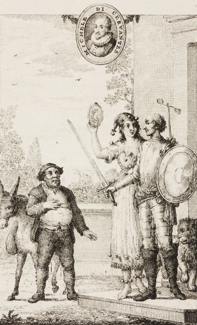Madness showing Dulcinea to Don Quixote, as Sancho Panza looks on, portrait of Cervantes at the page top, Plate 1