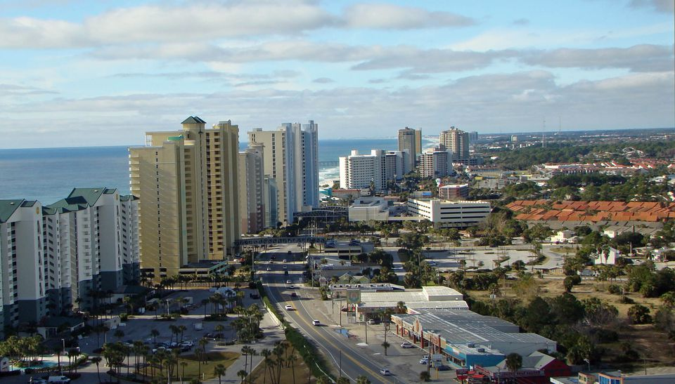 High-rises mark a busy section of Panama City Beach in Florida.