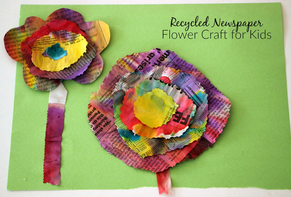 Recycled newspaper flower craft completed flowers
