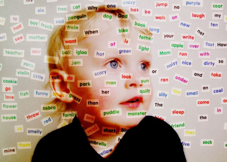 A boy with small words superimposed over him.