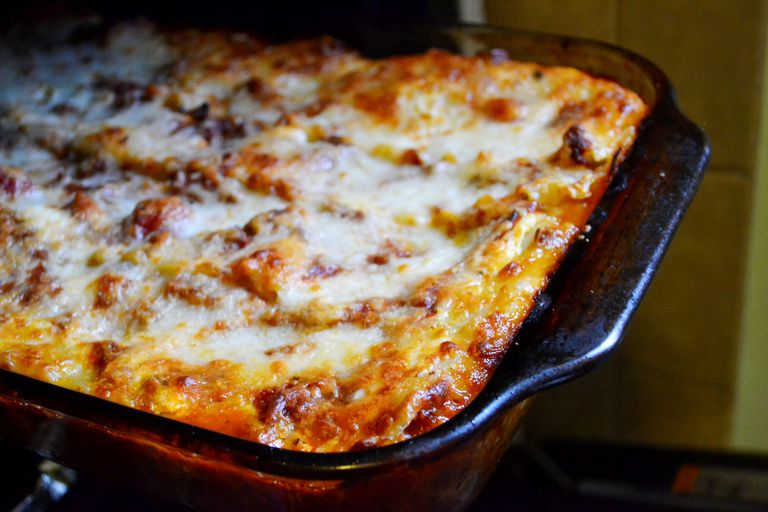 Zucchini Lasagna in a pan just out of the oven