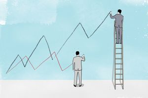 Businessmen on ladder and ground drawing high and low line graphs